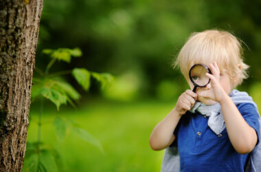 Funny kid exploring nature with magnifying glass. Little boy looking at tree with magnifier. Summer activity for inquisitive child